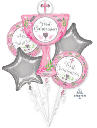 Picture of Girl's First Communion Day Balloon Bouquet (5 pc)