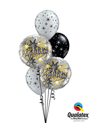 Picture of Congratulations Sparkles & Swirls Balloon Bouquet (5 pc)