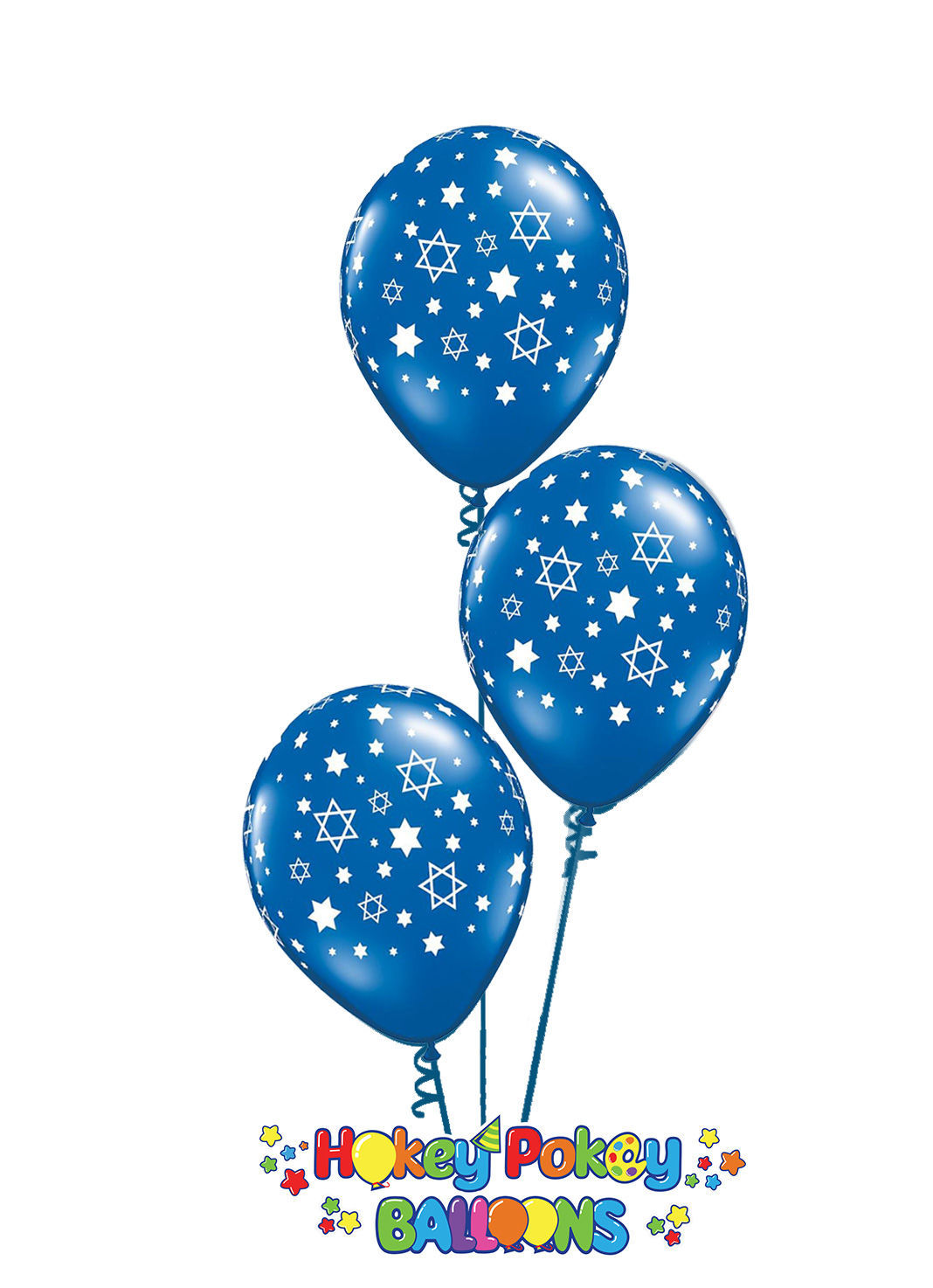 Picture of 11'' Star of David Sapphire Blue Balloon Bouquet (up to 13 balloons)