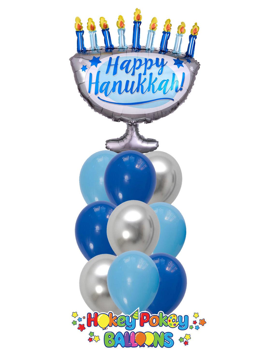 Picture of Happy Hanukkah Balloon Bouquet of 10