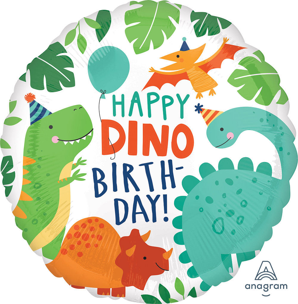Picture of 17'' Happy Dino Birthday Dinosaur Balloon (helium-filled)