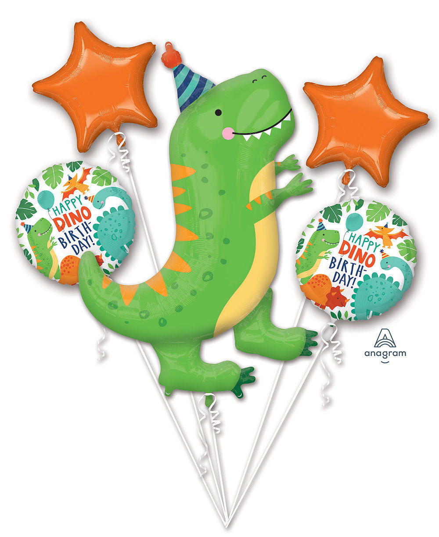 Picture of Dinomite Party - Happy Dinosaur Birthday Balloon Bouquet  (5pc)