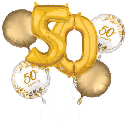 Picture of Happy 50th Anniversary - Gold Balloon Bouquet  (6pc)