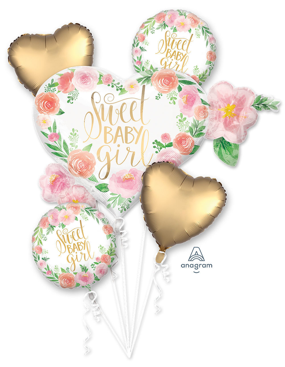 Picture of Floral Sweet Baby Girl Balloon Bouquet (5pc)