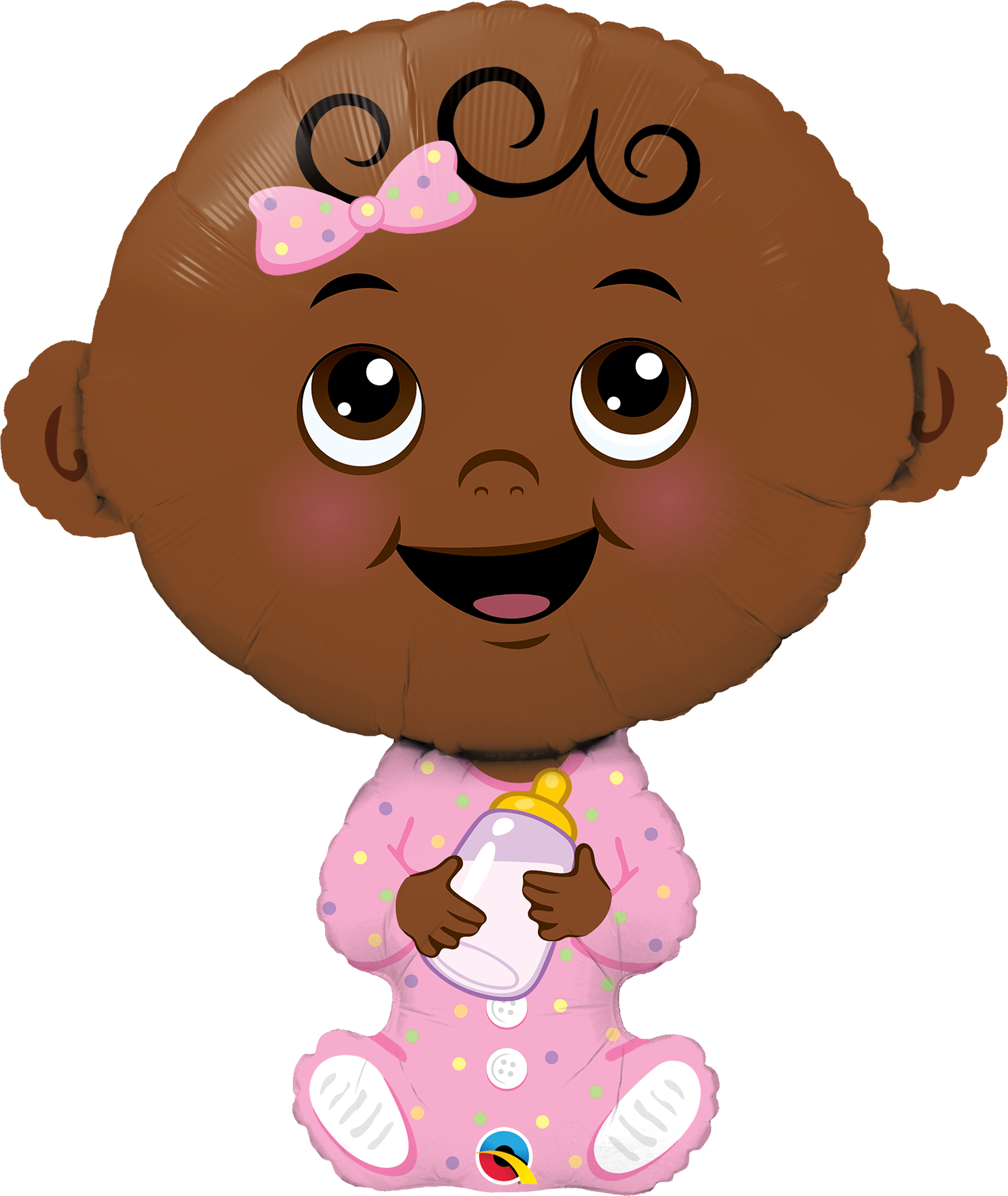 """Picture of 38"""" Baby Girl ( Dark Skin Tone ) Foil Balloon  (helium-filled)"""