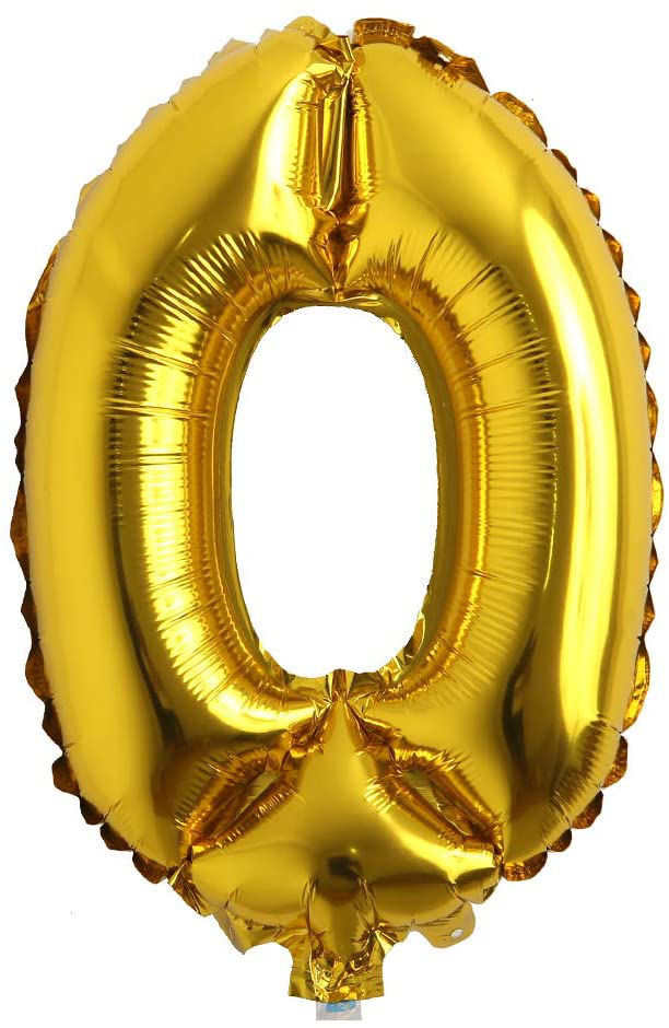 """Picture of 16"""" Gold Foil Number - 0  (air-filled)"""