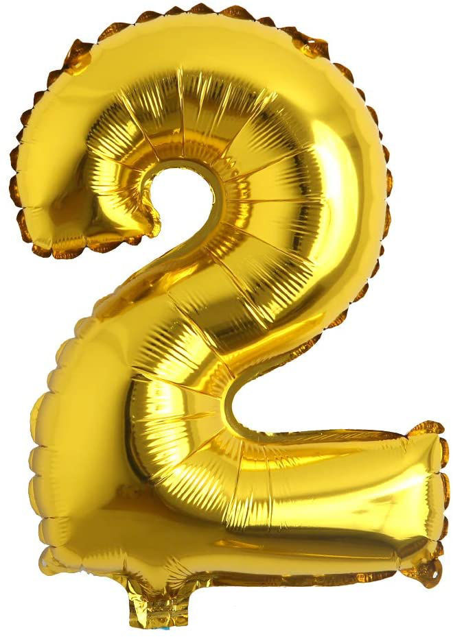"""Picture of 16"""" Gold Foil Number - 2 (air-filled)"""