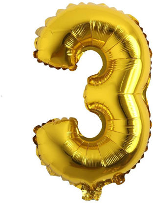 """Picture of 16"""" Gold Foil Number - 3 (air-filled)"""