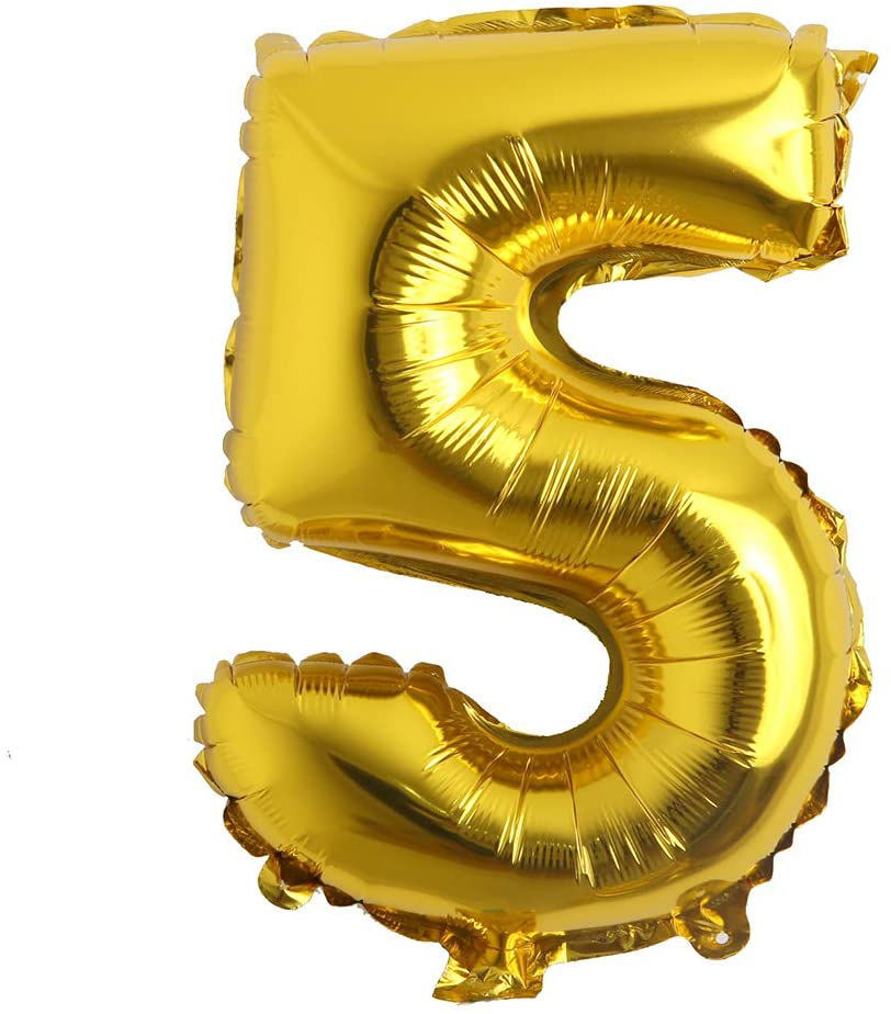 """Picture of 16"""" Gold Foil Number - 5 (air-filled)"""