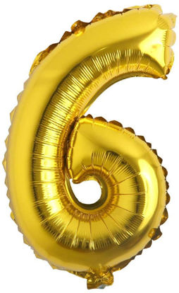 """Picture of 16"""" Gold Foil Number - 6 (air-filled)"""