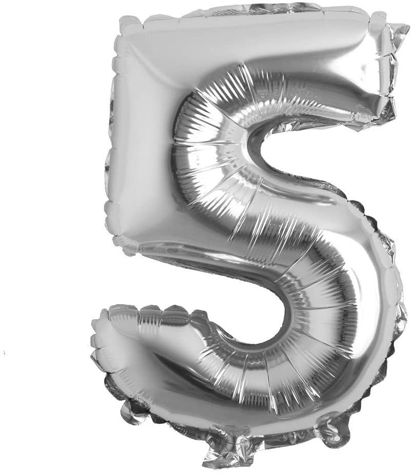 """Picture of 16"""" Silver Foil Balloon -  Number 5 (air-filled)"""