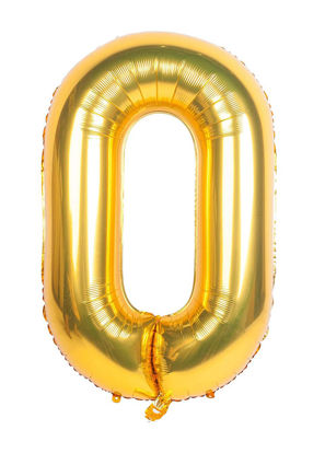 Picture of 34'' Foil Balloon Number 0 - Gold (helium-filled)