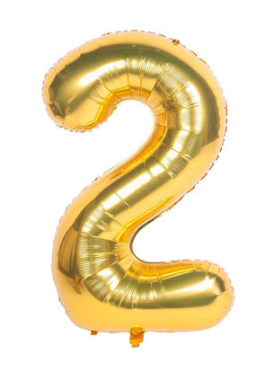 Picture of 34'' Foil Balloon Number 2 - Gold (helium-filled)