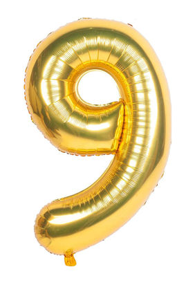 Picture of 34'' Foil Balloon Number 9 - Gold (helium-filled)