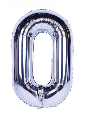Picture of 34'' Foil Balloon Number 0 - Silver (helium-filled)