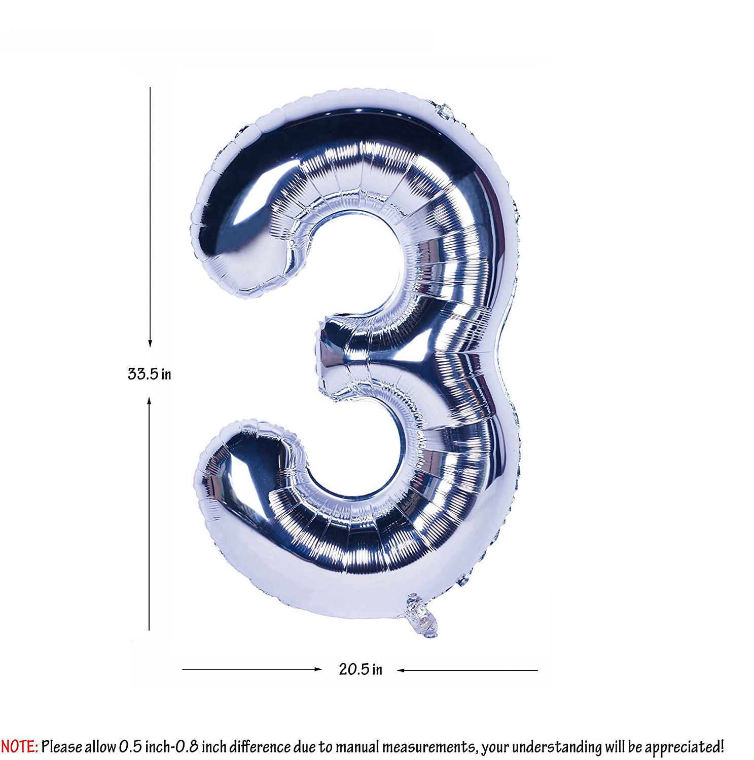 Picture of 34'' Foil Balloon Number 3 - Silver (helium-filled)