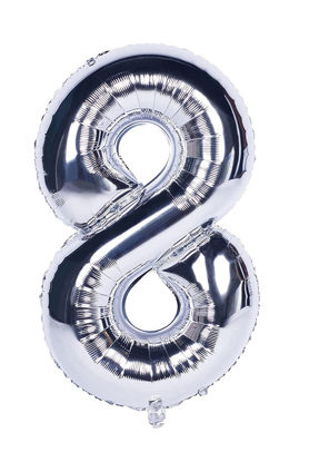 Picture of 34'' Foil Balloon Number 8 - Silver (helium-filled)