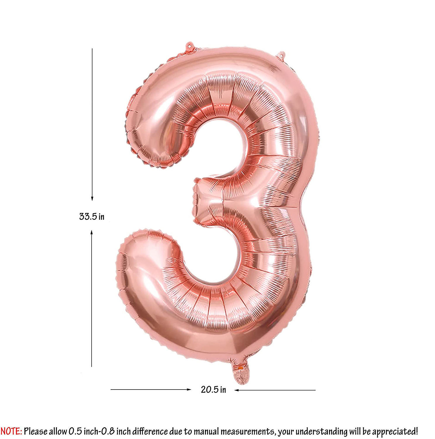Picture of 34'' Foil Balloon Number 3 - Rose Gold (helium-filled)