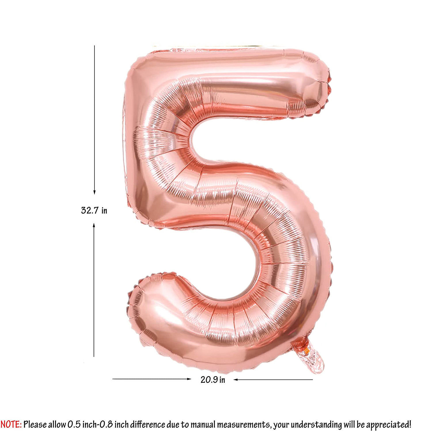 Picture of 34'' Foil Balloon Number 5 - Rose Gold (helium-filled)