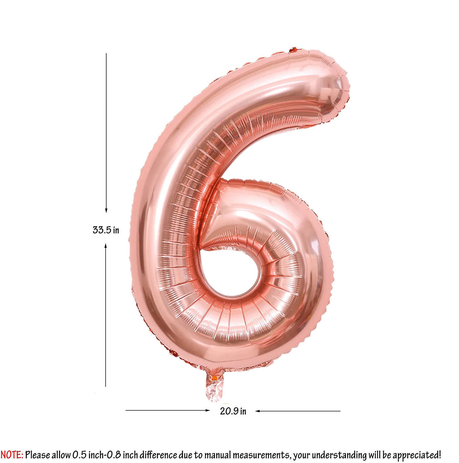 Picture of 34'' Foil Balloon Number 6 - Rose Gold (helium-filled)