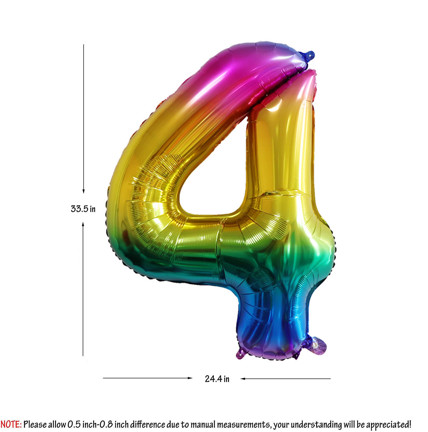 Picture of 34'' Foil Balloon Number 4 - Bright Rainbow (helium-filled)