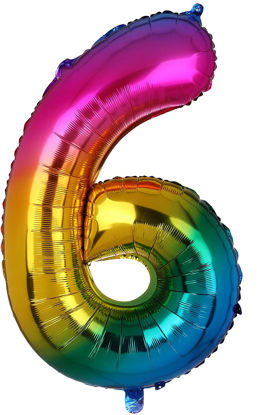 Picture of 34'' Foil Balloon Number 6 - Bright Rainbow (helium-filled)