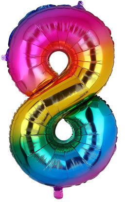 Picture of 34'' Foil Balloon Number 8 - Bright Rainbow (helium-filled)