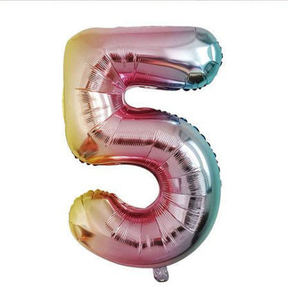 Picture of 34'' Foil Balloon Number 5 - Pastel Rainbow (helium-filled)