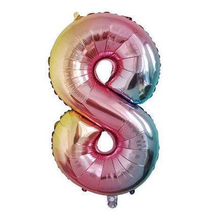 Picture of 34'' Foil Balloon Number 8 - Pastel Rainbow (helium-filled)