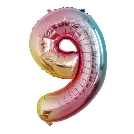 Picture of 34'' Foil Balloon Number 9 - Pastel Rainbow (helium-filled)