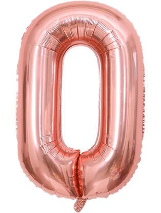 Picture of 34'' Foil Balloon Number 0 - Rose Gold (helium-filled)