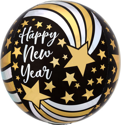 Picture of Happy New Year Shooting Stars Orbz Balloon (helium-filled)