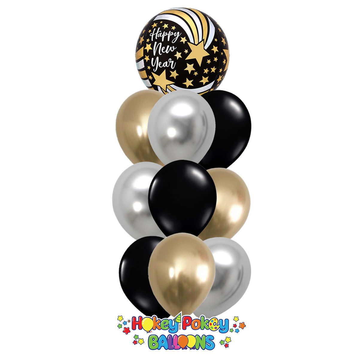 Picture of Happy New Year with Shooting Stars - Balloon Bouquet of 10